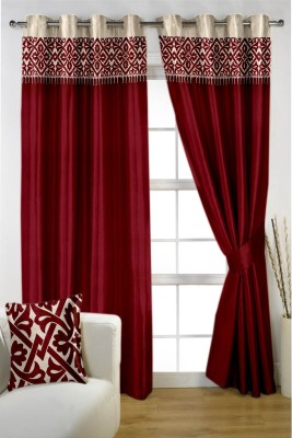 Homec Satin Maroon Floral Eyelet Window & Door Curtain