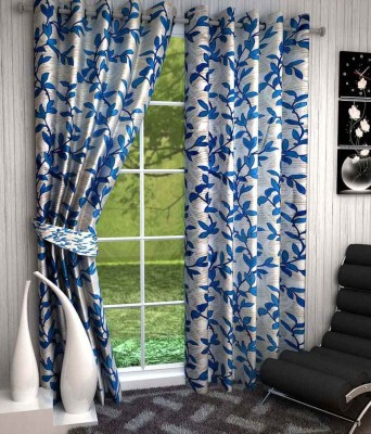 Divine Polyester Blue Floral Eyelet Window Curtain