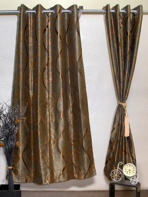 Puma Polyester Brown, Gold Motif Eyelet Door Curtain