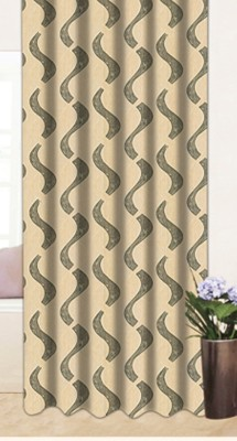 Drapez Polyester Brown & Green Floral Eyelet Window Curtain