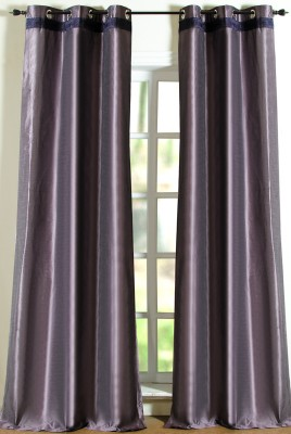 Deco Window Polyester Purple Solid Eyelet Door Curtain