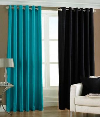 Panipat Textile Hub Polyester Aqua and Black Plain Eyelet Door Curtain