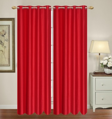 HomeTex Polyester Red Window Valance