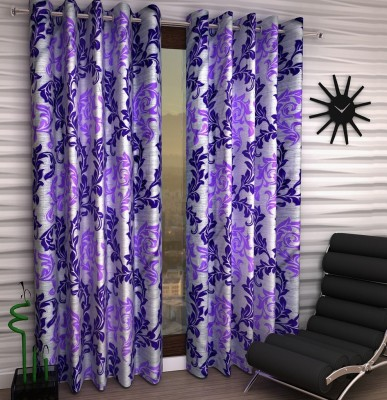 Home Fantasy Polyester Purple Abstract Eyelet Window Curtain