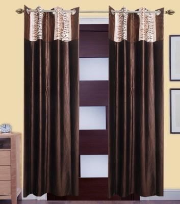 ShopSince Polyester Multicolor Self Design Eyelet Door Curtain