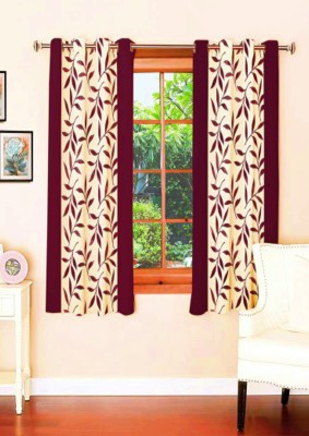 sajaawat Polyester Red Floral Eyelet Window Curtain