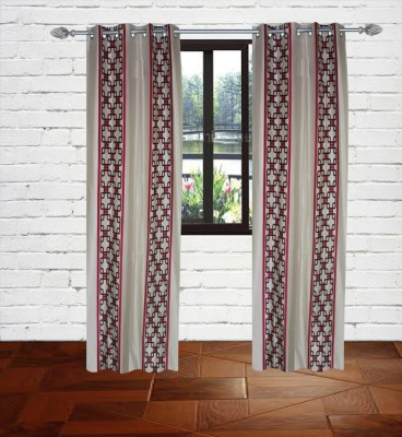 Gaurav Curtains Polyester Red Floral Eyelet Door Curtain