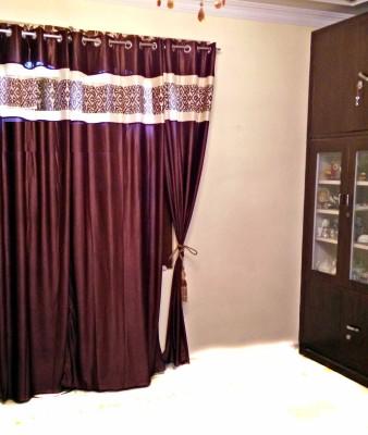 SHC Polyester Brown Self Design Eyelet Door Curtain