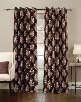 Jds Polyester Brown Floral Eyelet Door Curtain
