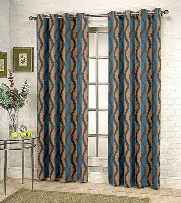 Kings Polycotton Blue Printed Tab Top Door Curtain