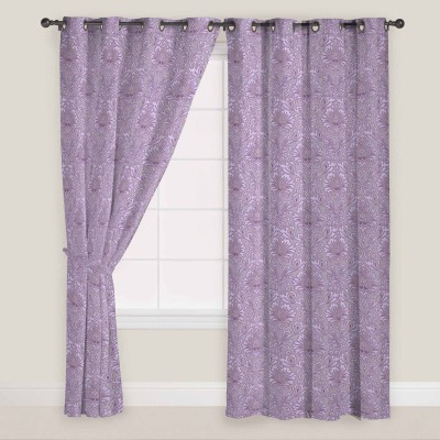 PRESTO Polyester Purple Abstract Eyelet Window Curtain