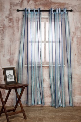Marigold Polyester Blue Striped Curtain Door Curtain