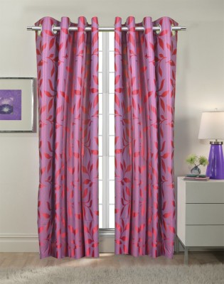 Trendy Home Polyester Pink Printed Eyelet Door Curtain