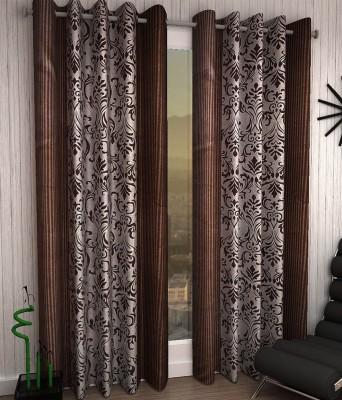 Jai Ganga Polyester Brown Floral Curtain Long Door Curtain