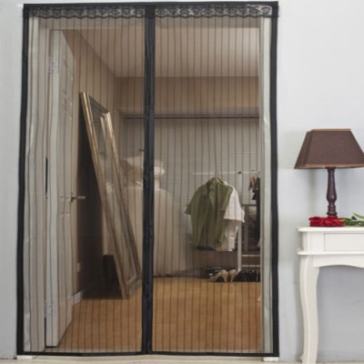 Meded Polyester Black Striped Eyelet Door Curtain
