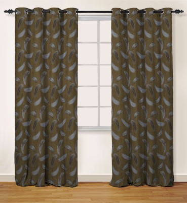 Oro Decor Polyester Camel Abstract Eyelet Window Curtain