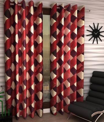 Panipat Textile Hub Polyester Maroon Floral Eyelet Long Door Curtain