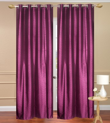 Daddyhomes Polyester Pink Solid Eyelet Door Curtain