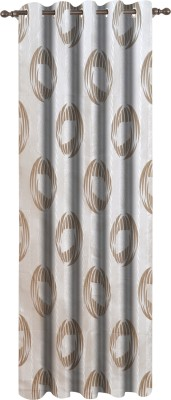 Dreamscape Polyester Beige Floral Eyelet Door Curtain