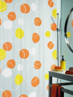 Spread PVC Orange Printed Eyelet Shower Curtain