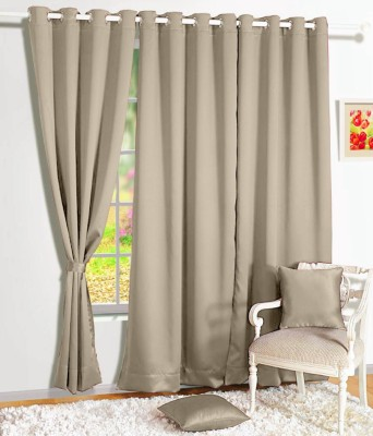 Story @ Home Silk Beige Solid Tab Top Door Curtain