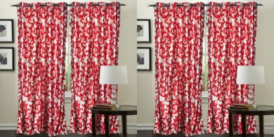 Hargunz Polyester Red Abstract Eyelet Long Door Curtain