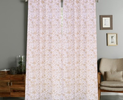 COLORS FOR LIVING Cotton Beige Printed Concealed Tab Top Window Curtain