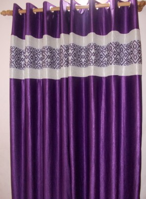 Adelina Polyester Purple Solid Eyelet Door Curtain