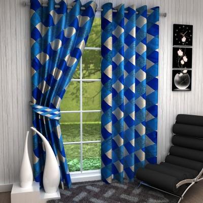Fashion Weaving Polyester Blue Checkered Eyelet Long Door Curtain