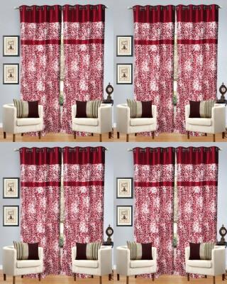 Decor Vatika Polyester Red Abstract Eyelet Door Curtain