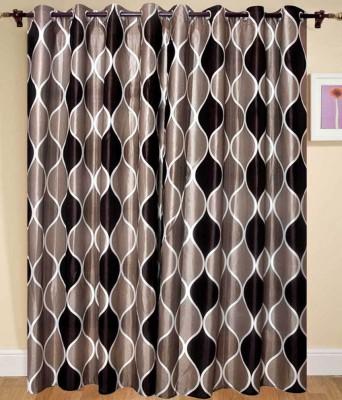 Shiv Shankar Handloom Polyester Brown Checkered Eyelet Door Curtain