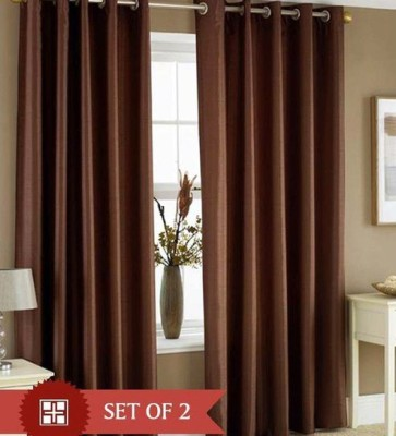 Raj Shobha Home Decor Polyester Brown Plain Eyelet Door Curtain
