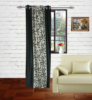 Gaurav Curtains Polyester Green Floral Eyelet Long Door Curtain
