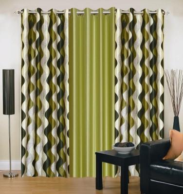 Excel Bazaar Polyester Green Abstract Eyelet Door Curtain