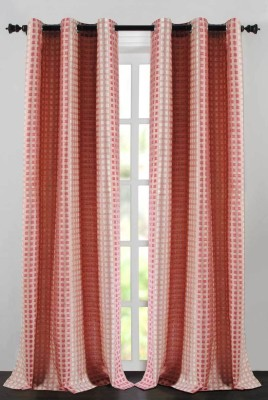 Deco Essential Polyester Burnt Red Plain Eyelet Window Curtain