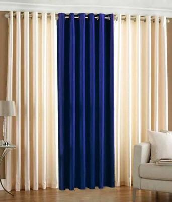 shivamconcepts Polyester Cream, Blue, Cream Plain Curtain Door Curtain