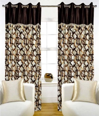 STC Polyester Brown Self Design Eyelet Door Curtain