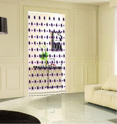 Rasmy Home Decor PVC White, Blue Self Design Ring Rod Window & Door Curtain