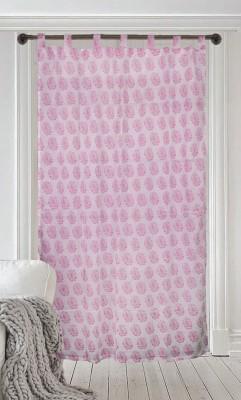 Milano Home Cotton Pink Printed Tab Top Window & Door Curtain