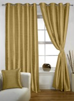 Lushomes Polyester Strong Ground Plain Eyelet Long Door Curtain(274.32 cm in Height, Single Curtain)