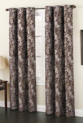 IndianOnlineMall Polyester Coffee Printed Eyelet Window Curtain