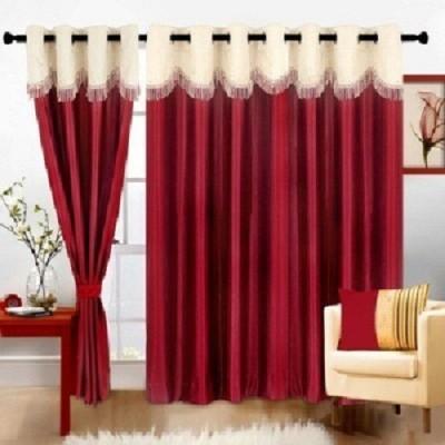 Madovershop Polyester Red Plain Eyelet Door Curtain