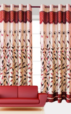 India Furnish Polyester Maroon Floral Eyelet Door Curtain