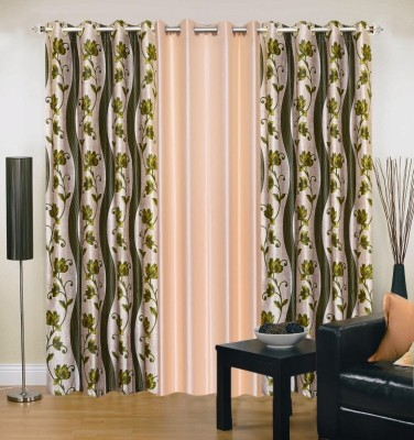 Ville Style Polyester Green, Cream Abstract Eyelet Door Curtain