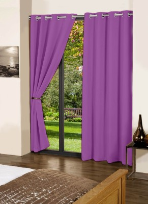 Lushomes Cotton Royal Lilac Plain Eyelet Long Door Curtain