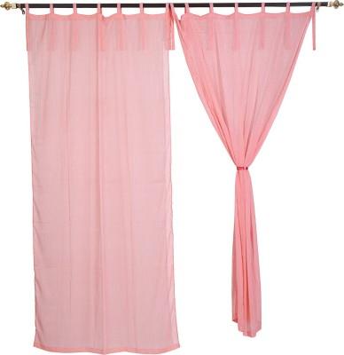 Rajrang Viscose Pink Striped Eyelet Door Curtain