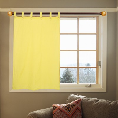 Kings Polycotton Yellow Striped Ring Rod Window Curtain