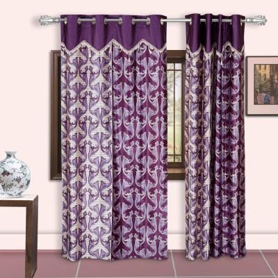 Dreaming Cotton Polyester Purple Motif Eyelet Door Curtain