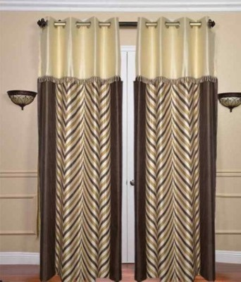 RedHot Polyester Brown Abstract Eyelet Window & Door Curtain