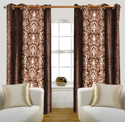 Glamora Interiors Polyester Brown Printed Eyelet Window & Door Curtain